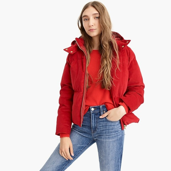 J. Crew Jackets & Blazers - J.Crew Red Corduroy Puffer Zip Up Coat XL